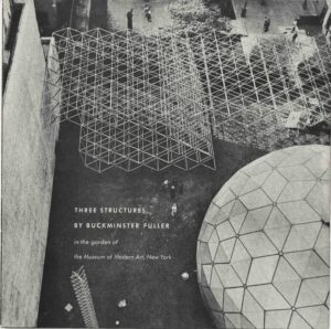 A greyscale image of triangualar grid structures and a geodesic dome from above. People appear offering a scale showing that the structures stand several stories tall.