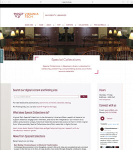 Screenshot of new Special Collections website on August 2, 2018 (spec.lib.vt.edu)