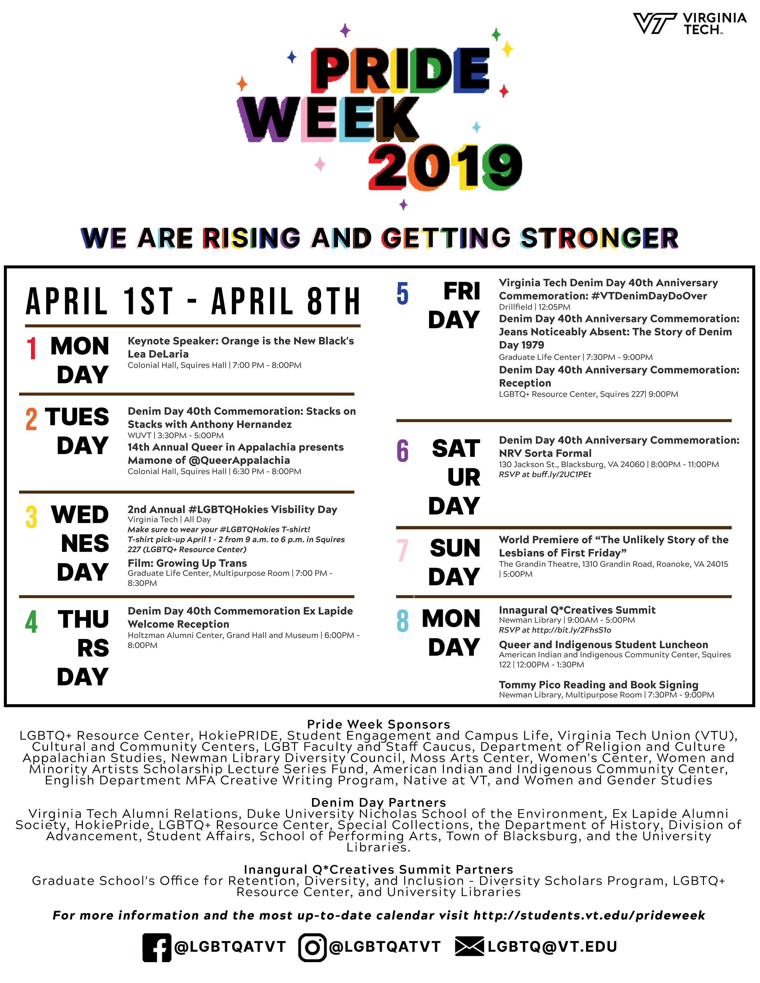 Pride Week 2019 calendar