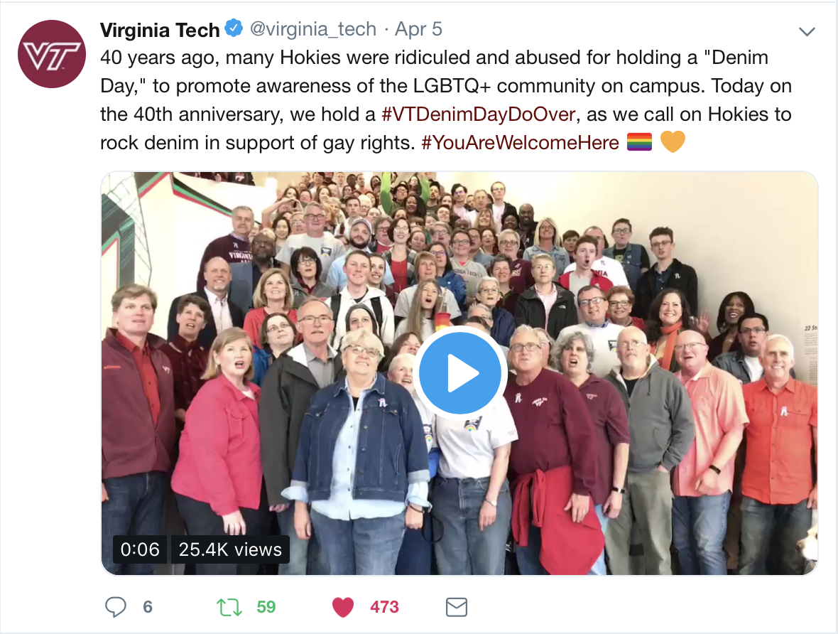 Screenshot of Tweet featuring a short video of the VT Denim Day Do Over event.