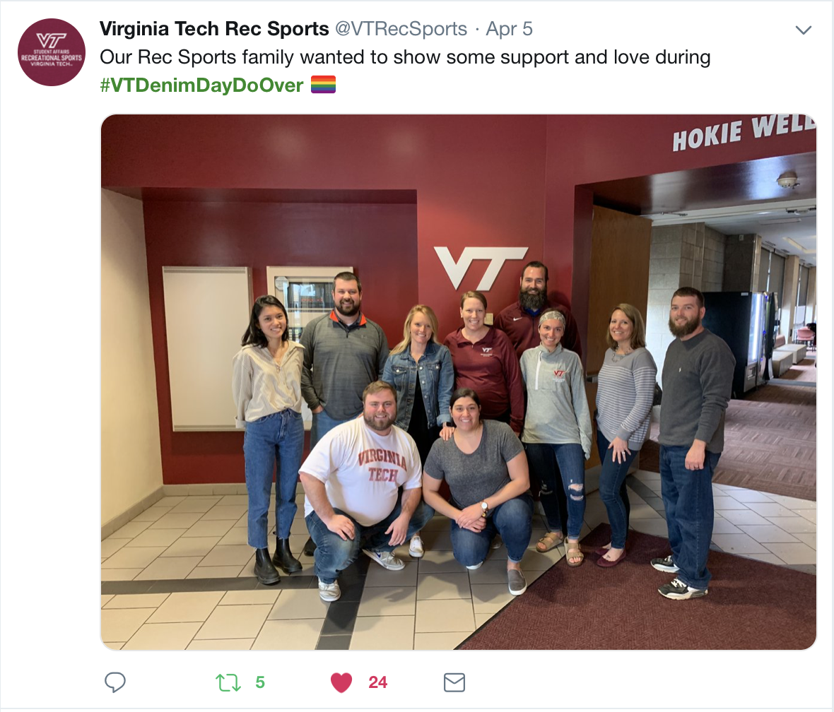 Screenshot of a tweet from VT Rec Sports.