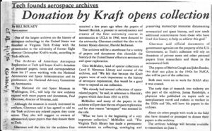 Archives of American Aerospace Exploration, 1986, Donation by Kraft opens collection