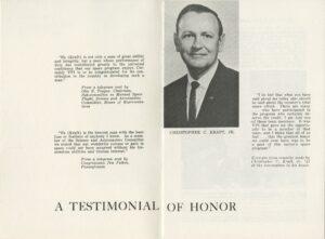 Commemorative Program from Convocation to Honor Kraft, November 1965 (inside cover)