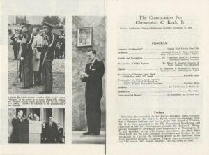 Commemorative Program from Convocation to Honor Kraft, November 1965 (interior page)
