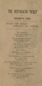 Republican Party Flyer of 1921