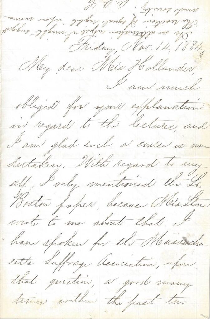Page one of a handwritten letter from Adelaide Claflin to Mrs. Hollander regarding a speaking engagement with the woman suffrage association in November 1884.