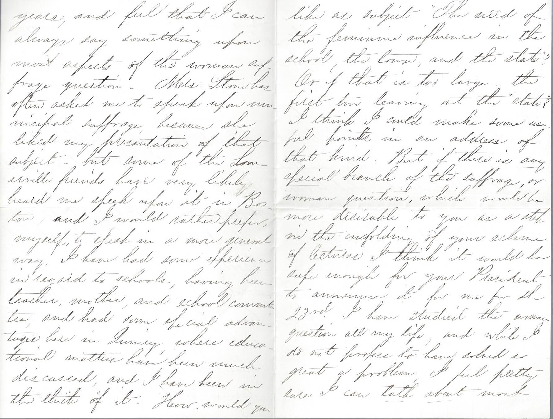 Pages two and three of a handwritten letter from Adelaide Claflin to Mrs. Hollander regarding a speaking engagement with the woman suffrage association in November 1884.