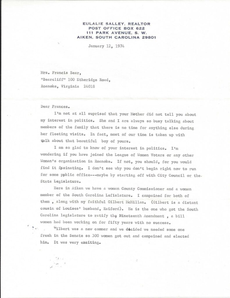 Page one of a 1974 letter from Eulalie Salley to Mrs. Francis Bear.