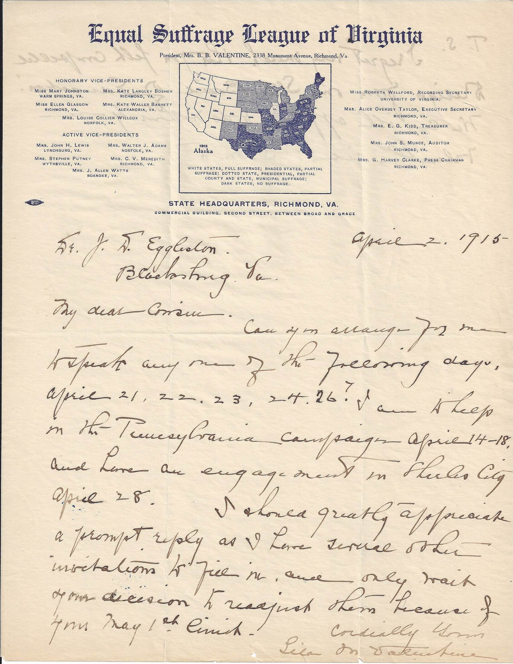 Page one of a 1915 letter from Lila Meade Valentine to J. D. Eggleston. The letter is on Equal Suffrage League of Virginia stationery.