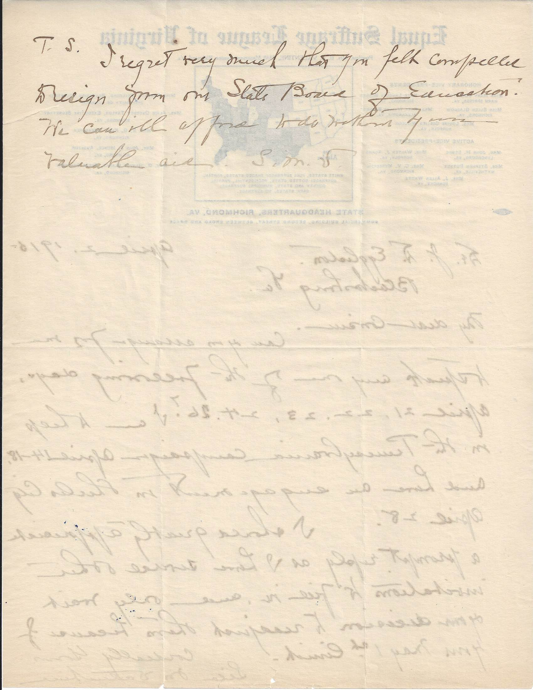 Page two of a 1915 letter from Lila Meade Valentine to J. D. Eggleston. The letter is on Equal Suffrage League of Virginia stationery.