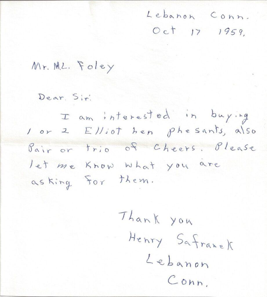Letter from Henry Safranek to M.L. Foley dated October 17, 1959