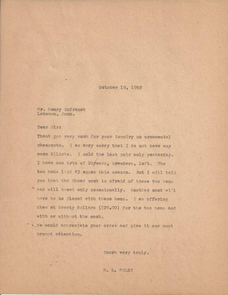 Letter from M.L. Foley to Henry Safranek dated October 19, 1959