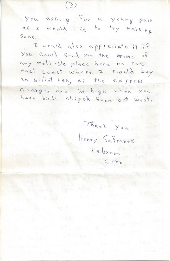 Page 3 of letter from Henry Safranek to M.L. Foley dated October 23, 1959
