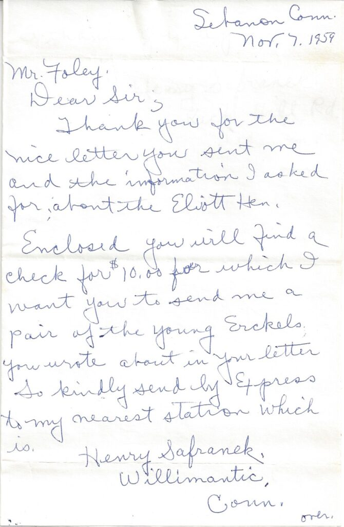 Page 1 of letter from Henry Safranek to M.L. Foley dated November 11, 1959