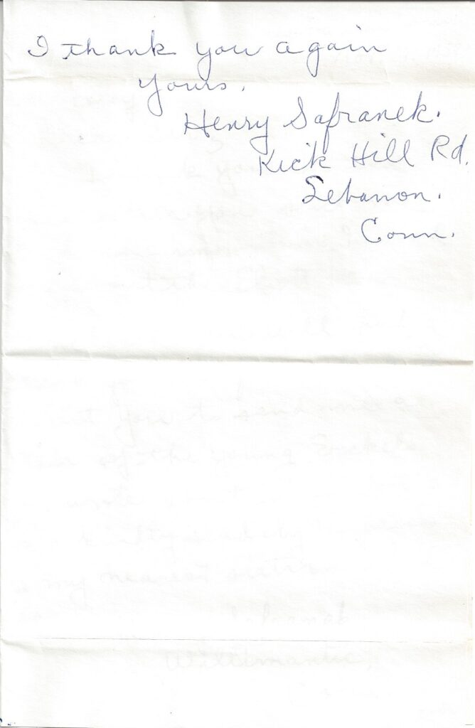 Page 2 of letter from Henry Safranek to M.L. Foley dated November 11, 1959