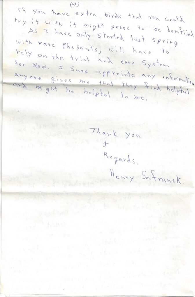 Page 4 of letter from Henry Safranek to M.L. Foley dated November 19, 1959