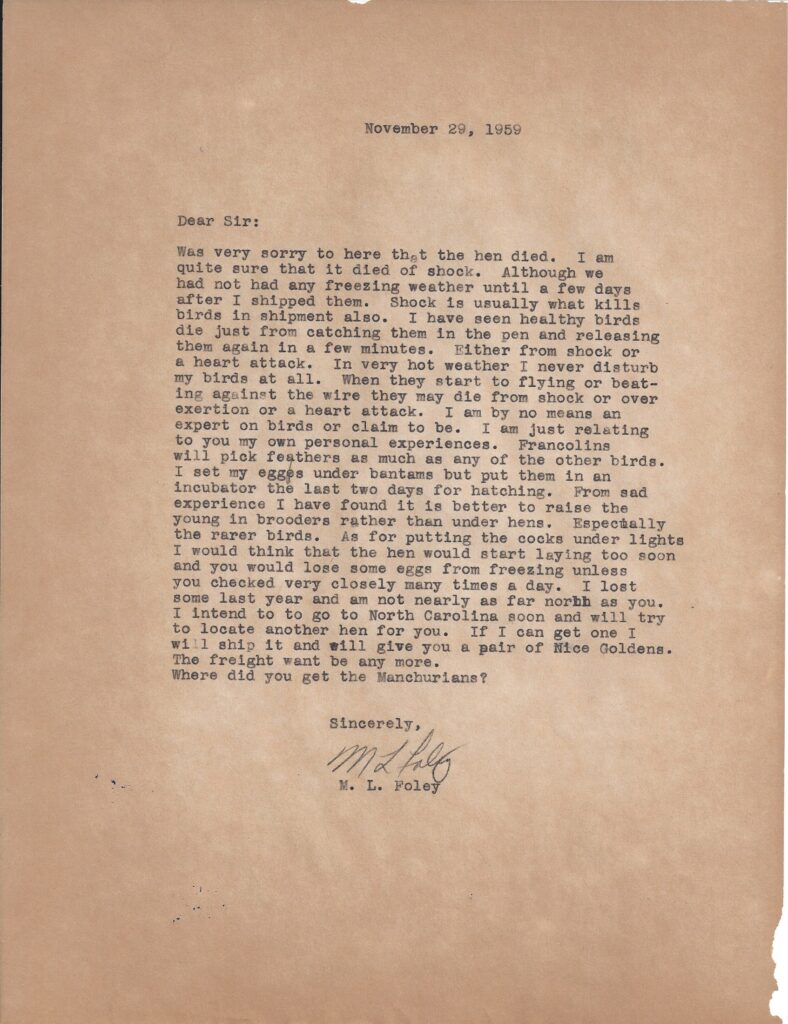 Letter from M.L. Foley to Henry Safranek dated November 29, 1959