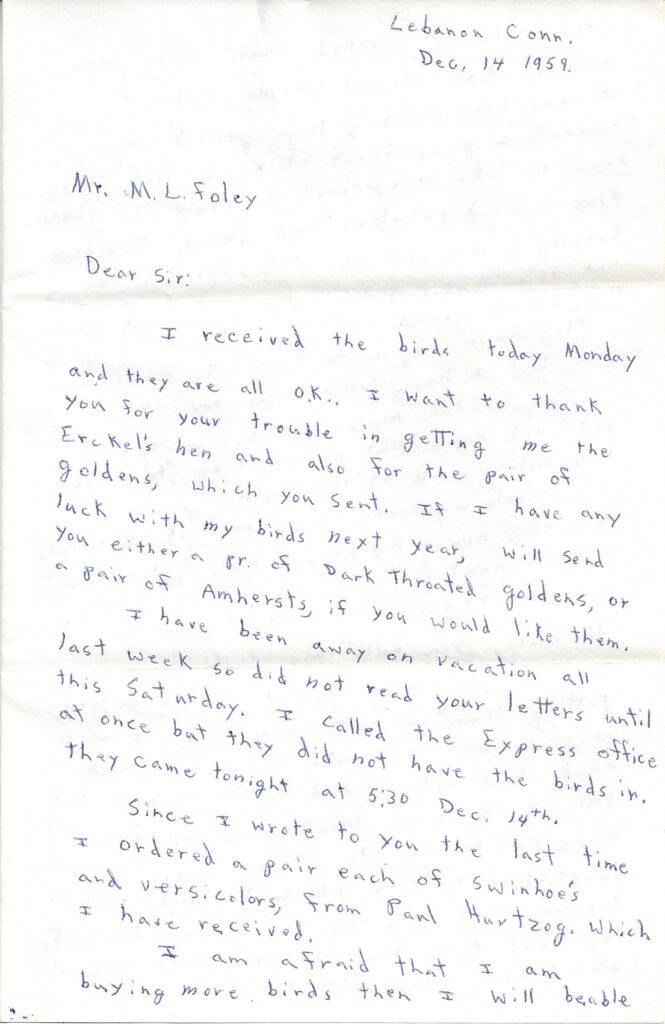 Page 1 of letter from Henry Safranek to M.L. Foley dated December 14, 1959