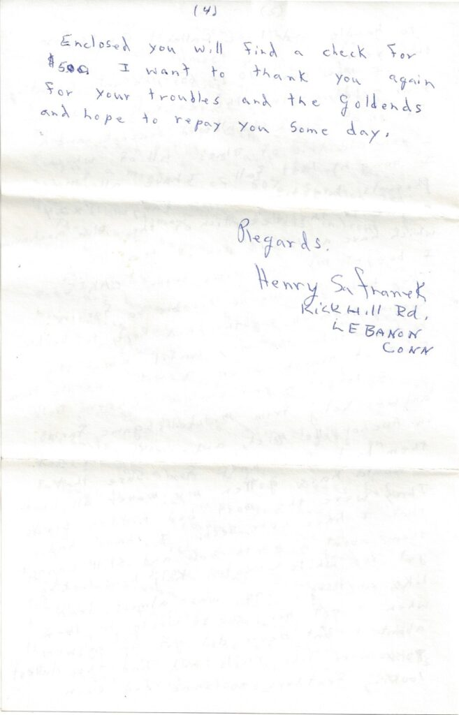 Page 4 of letter from Henry Safranek to M.L. Foley dated December 14, 1959