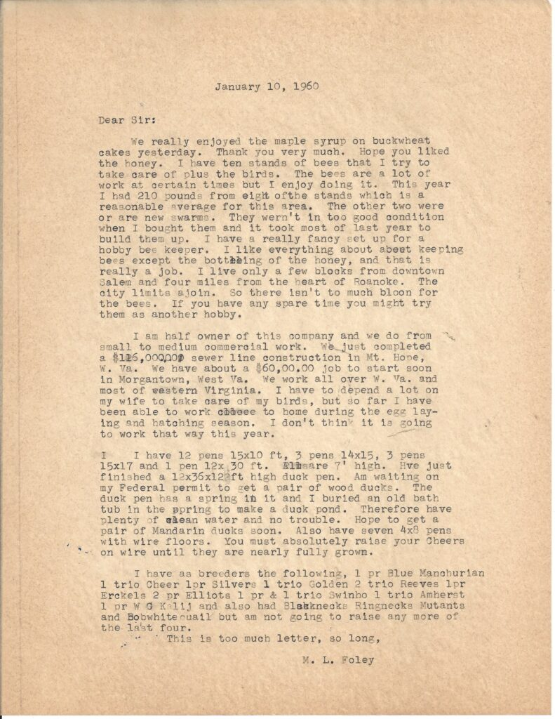 Letter from M.L. Foley dated January 10, 1960