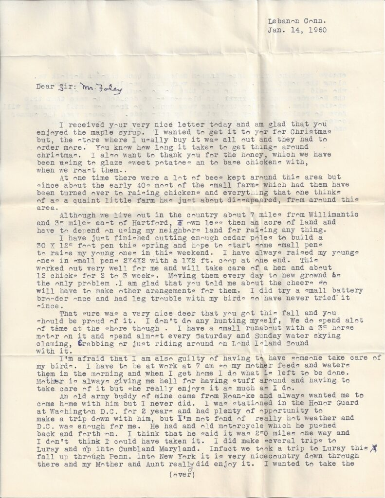 Page 1 of letter from Henry Safranek to M.L. Foley dated January 14, 1960