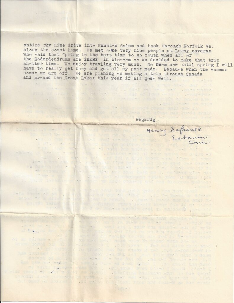 Page 2 of letter from Henry Safranek to M.L. Foley dated January 14, 1960