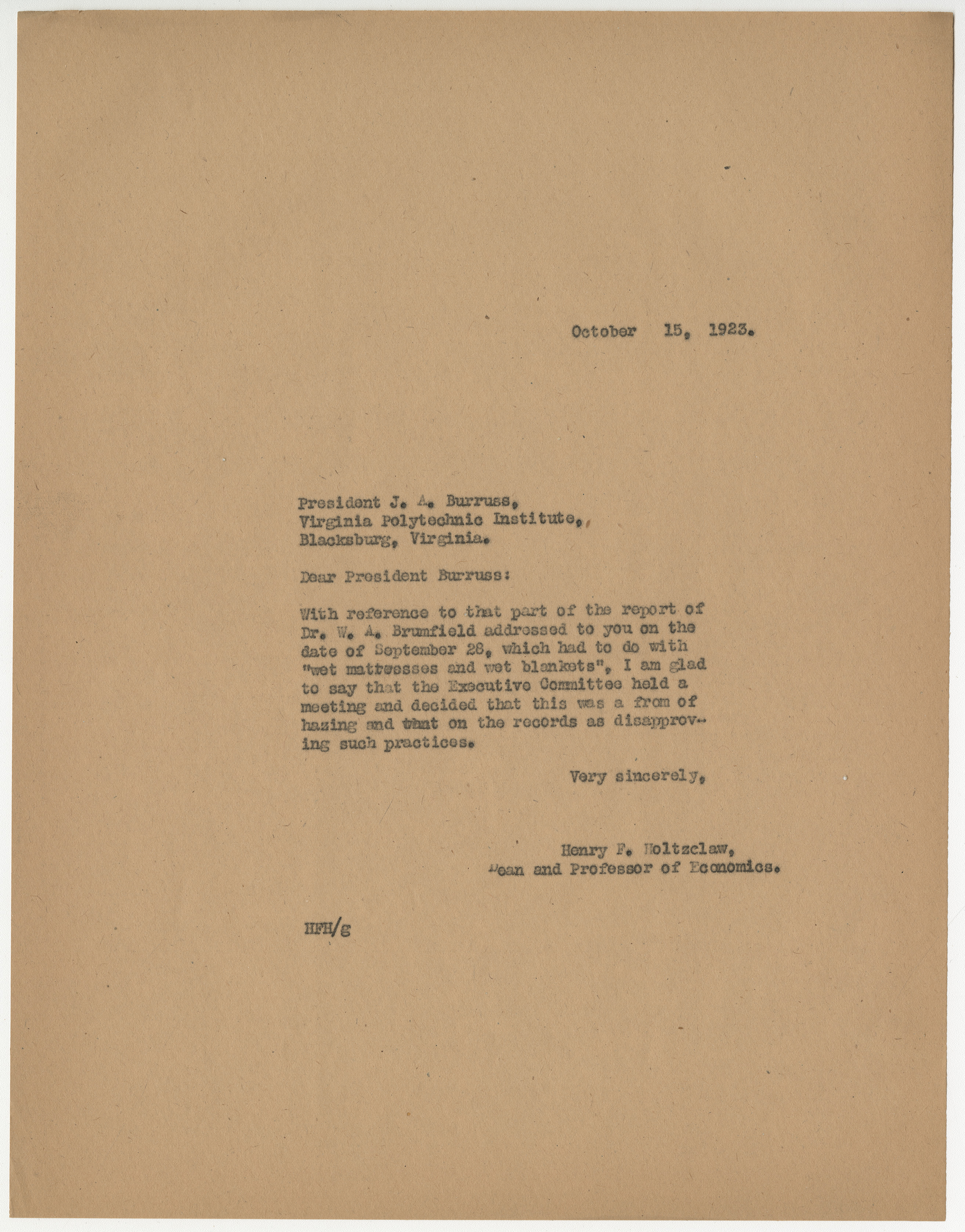 Letter from Henry F. Holtzclaw to President J. A. Burruss, regarding a hazing incident, October 15, 1923, from the Records of the Dean of Students, Henry F. Holtzclaw, RG 8/2a