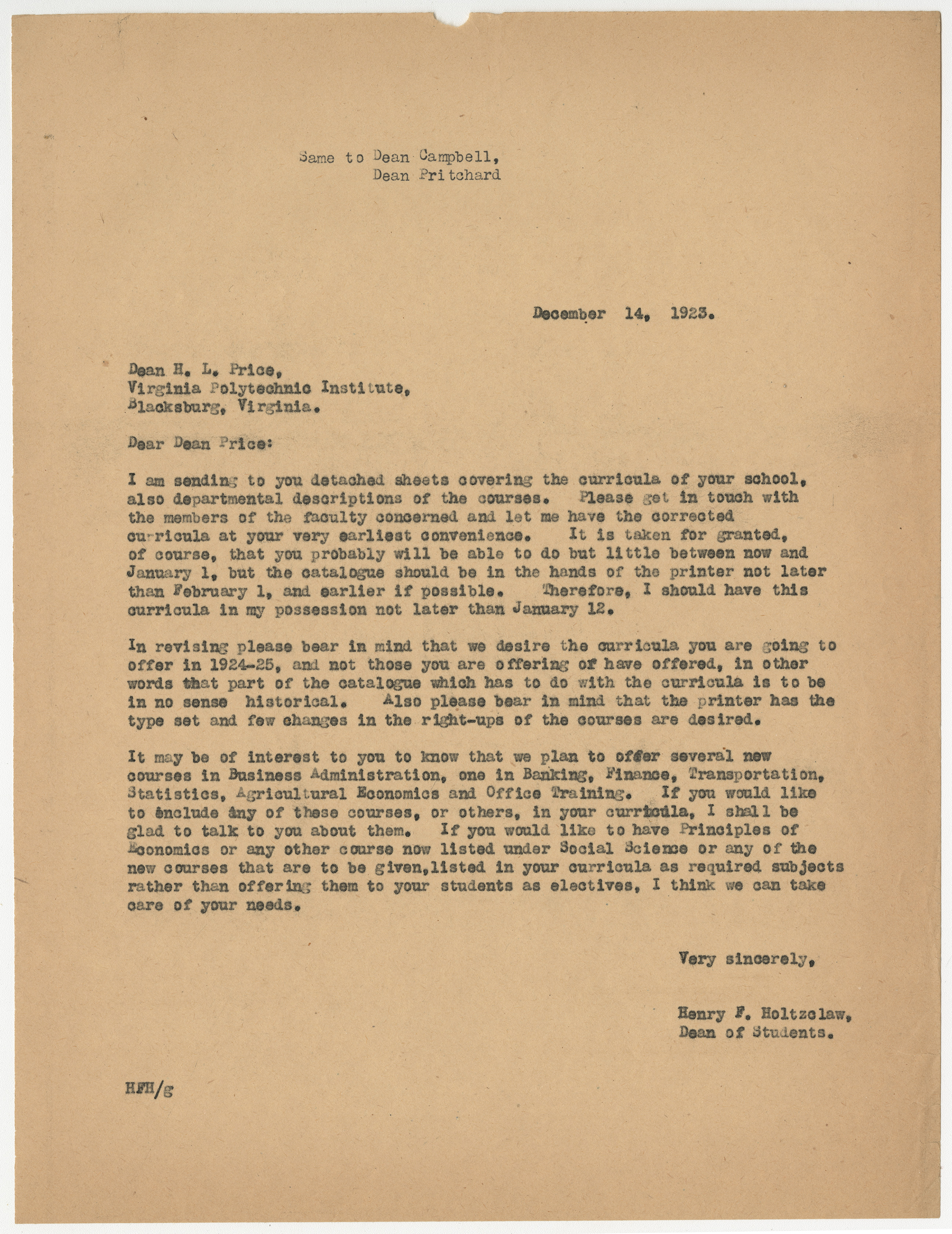 Letter from Henry F. Holtzclaw to Dean H.L. Price, regarding the annual catalog curricula, December 14, 1923, from the Records of the Dean of Students, Henry F. Holtzclaw, RG 8/2a