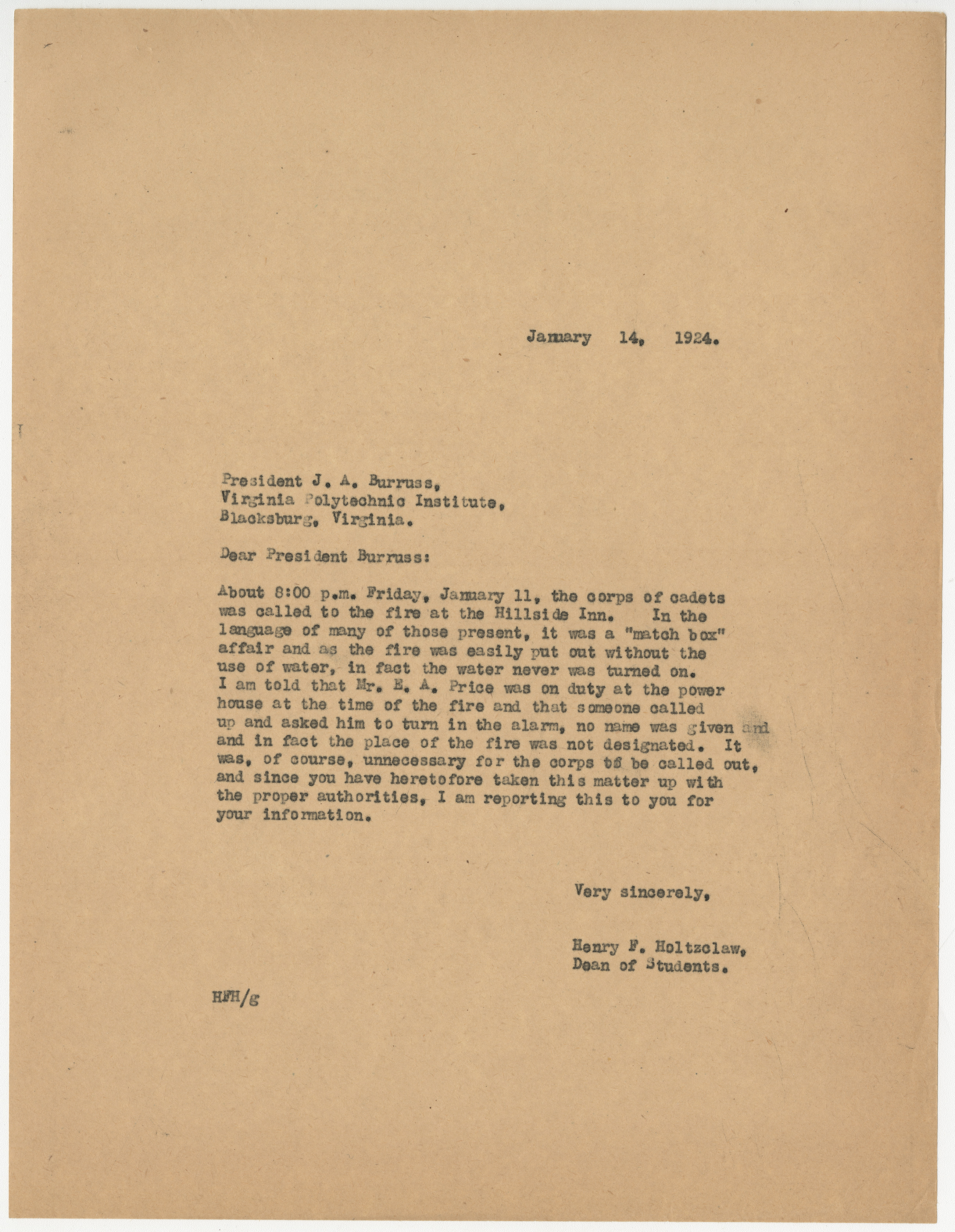 Letter from Henry F. Holtzclaw to President J.A. Burruss, regarding the corps responding to a fire, January 14, 1924, from the Records of the Dean of Students, Henry F. Holtzclaw, RG 8/2a
