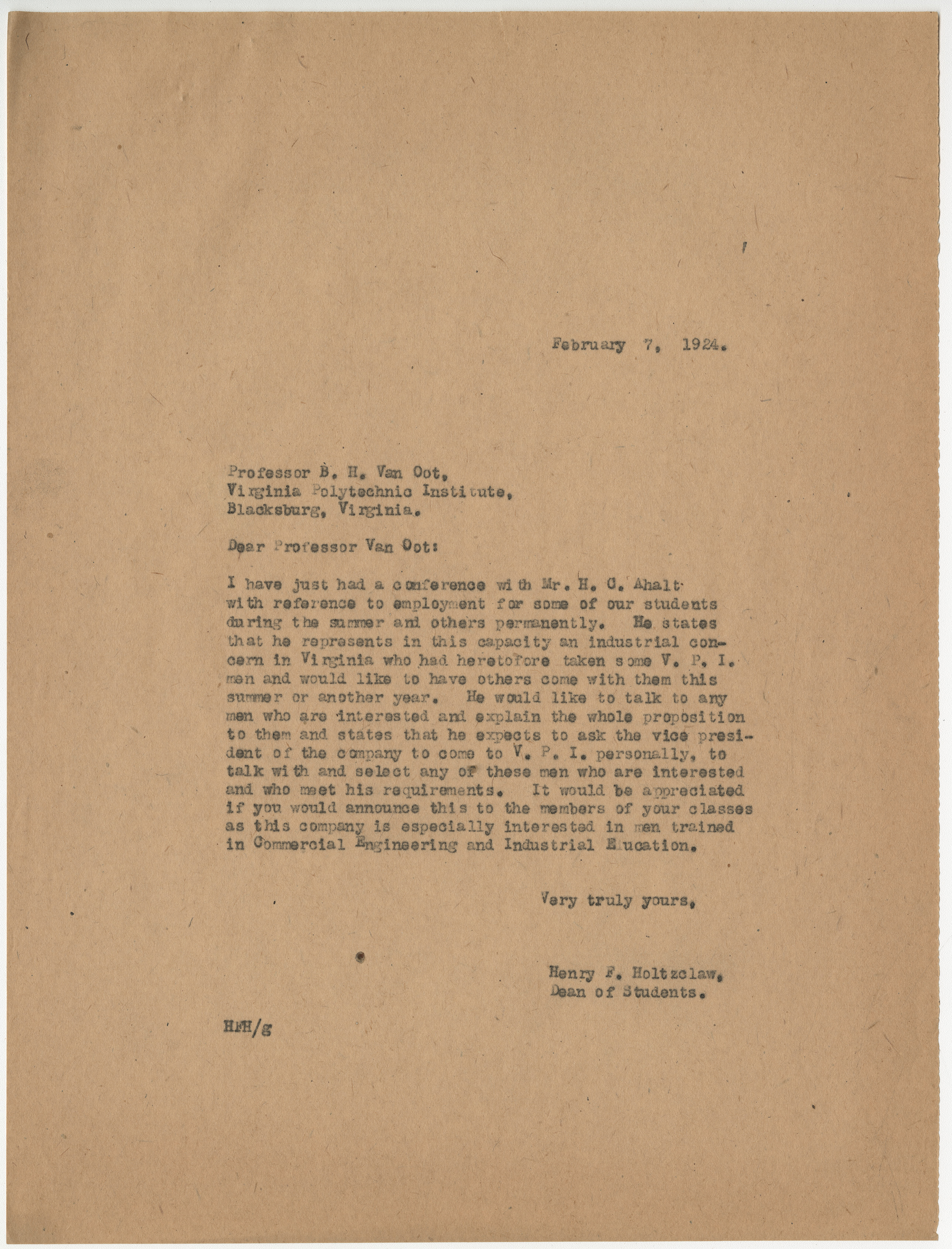Letter from Henry F. Holtzclaw to Professor B.H. Van Oot, regarding the potential jobs for students, February 7, 1924, from the Records of the Dean of Students, Henry F. Holtzclaw, RG 8/2a